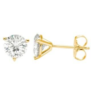 Charles & Colvard 14k Gold 3.80 TGW Round Forever Brilliant Moissanite Stud Earrings