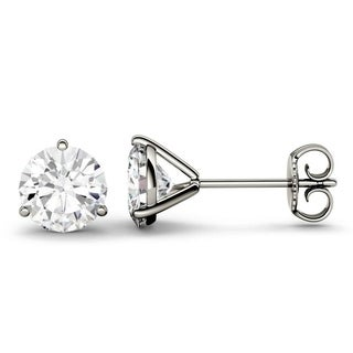 Charles & Colvard 14k Gold 2.00 TGW Round Forever Brilliant Moissanite Stud Earrings