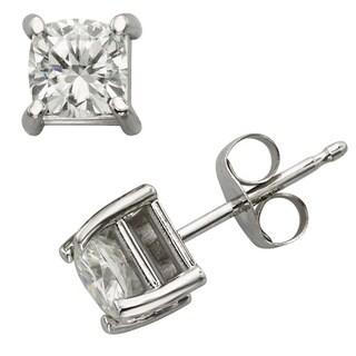 Charles & Colvard 14k Gold 1.00 TGW Cushion Forever Brilliant Moissanite Stud Earrings