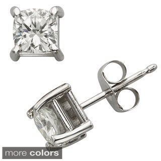Charles & Colvard 14k Gold 1.00 TGW Cushion Forever Brilliant Moissanite Stud Earrings