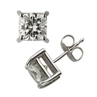 Charles & Colvard 14k Gold 2.60 TGW Cushion Forever Brilliant Moissanite Stud Earrings