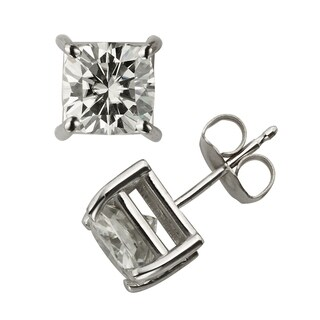 Charles & Colvard 14k Gold 2.60 TGW Cushion Forever Brilliant Moissanite Stud Earrings