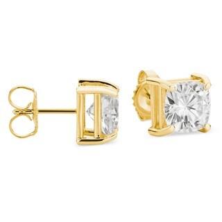 Charles & Colvard 14k Gold 2.20 TGW Cushion Forever Brilliant Moissanite Stud Earrings