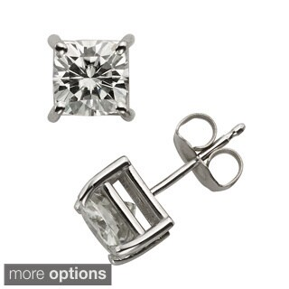 Charles & Colvard 14k Gold 2.20 TGW Cushion Forever Brilliant Moissanite Stud Earrings