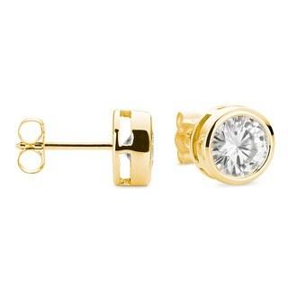 Charles & Colvard 14k Gold 1.60 TGW Round Forever Brilliant Moissanite Stud Earrings