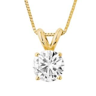 Charles & Colvard 14k White Gold 4/5ct TGW Forever Brilliant Round Moissanite Solitaire Pendant
