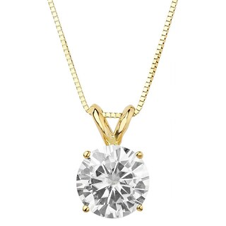 Moissanite by Charles & Colvard 14k Gold 1.90 TGW Round Solitaire Pendant