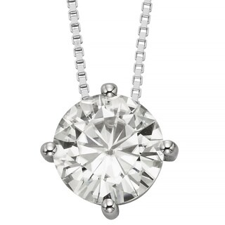 Charles & Colvard 14k Gold 1.90 TGW Round Forever Brilliant Moissanite Solitaire Pendant (2 options available)