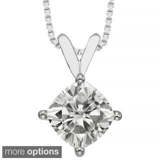 Charles & Colvard 14k Gold 2.00 TGW Cushion Forever Brilliant Moissanite Solitaire Pendant