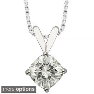 Charles & Colvard 14k Gold 1.10 TGW Cushion Forever Brilliant Moissanite Solitaire Pendant