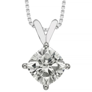 Charles & Colvard 14k Gold 1.70 TGW Cushion Forever Brilliant Moissanite Solitaire Pendant