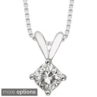 Charles & Colvard 14k Gold 0.50 TGW Cushion Forever Brilliant Moissanite Solitaire Pendant
