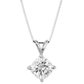 Charles & Colvard 14k Gold 2.80 TGW Cushion Forever Brilliant Moissanite Solitaire Pendant