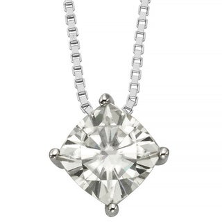 Charles & Colvard 14k Gold 0.80 TGW Cushion Forever Brilliant Moissanite Solitaire Pendant