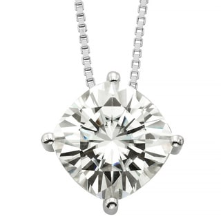 Charles & Colvard 14k Gold 3.30 TGW Cushion Forever Brilliant Moissanite Solitaire Pendant