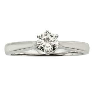 Charles & Colvard 14k White Gold 1/2 ct. TGW Round Forever-Brilliant Moissanite Solitaire Ring