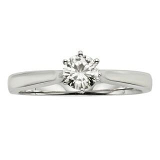 Charles & Colvard 14k White Gold 1/2 ct. TGW Round Forever-Brilliant Moissanite Solitaire Ring