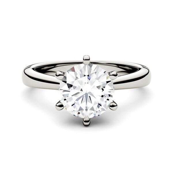 Charles & Colvard 14k White Gold 1 1/2ct DEW Forever Brilliant Round Moissanite Solitaire Ring