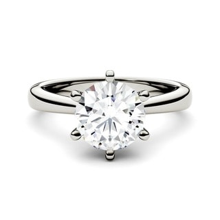 Charles & Colvard 14k White Gold 1 1/2ct DEW Forever Brilliant Round Moissanite Solitaire Ring