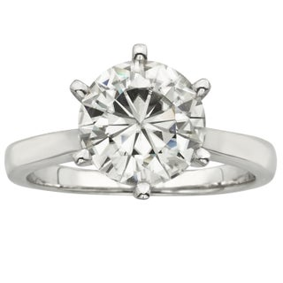 Charles and Colvard 14k Gold 3 1/ 10ct TGW Round Forever Brilliant Moissanite Solitaire Ring