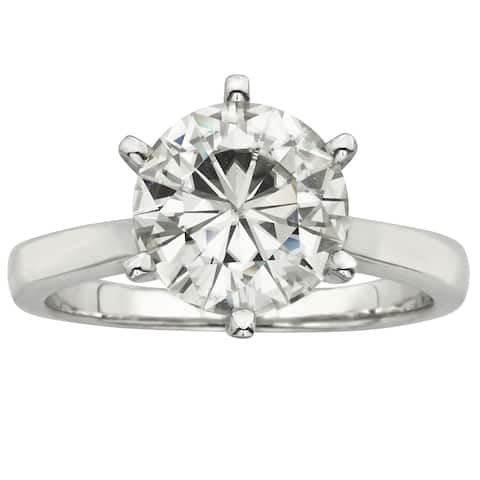 Charles and Colvard 14k White Gold 3 1/ 10ct TGW Moissanite Round Forever Brilliant Solitaire Ring