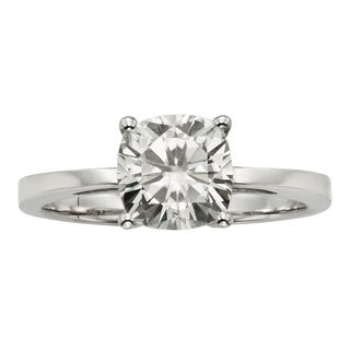 Charles & Colvard 14k Gold 2ct TGW Cushion Forever Brilliant Moissanite Solitaire Ring