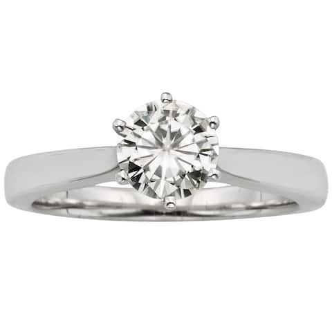 14k Gold Moissanite by Charles & Colvard 6-Prong Solitaire Ring - 1ct TGW