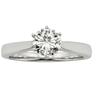 Charles & Colvard 14k Gold 1ct TGW Round Forever Brilliant Moissanite Solitaire Ring