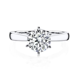 Charles and Colvard 14k Gold 1 7/8ct Round Forever Brilliant Moissanite Solitaire Ring