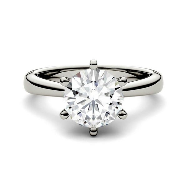 Moissanite by Charles & Colvard 14k 1.90 TGW Gold Round Solitaire Ring. Opens flyout.