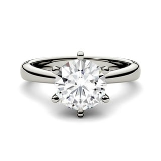 Charles and Colvard 14k Gold 1 7/8ct DEW Round Forever Brilliant Moissanite Solitaire Ring