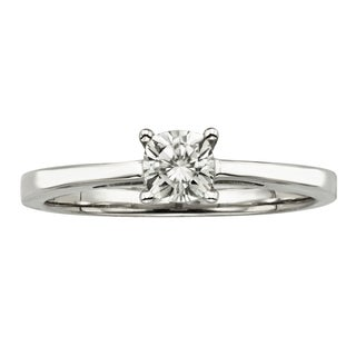 Charles & Colvard 14k Gold 0.50 TGW Cushion Forever Brilliant Moissanite Solitaire Ring