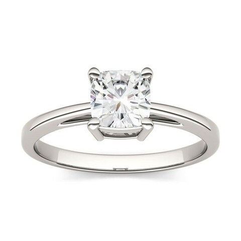 Charles & Colvard 14k White Gold 1 1/10ct DEW Cushion Cut Forever One Near Colorless Moissanite Solitaire Ring