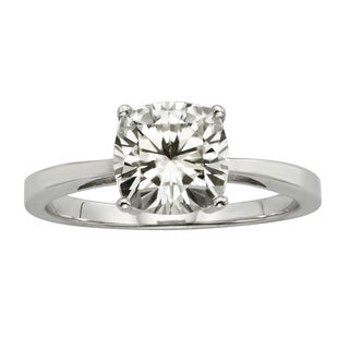 Charles & Colvard 14k Gold 1 3/4ct TGW Cushion Forever Brilliant Moissanite Solitaire Ring