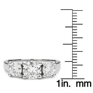 Charles & Colvard 14k Gold 2.00 TGW Round Forever Brilliant Moissanite 3-Stone Ring
