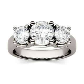 charles colvard 14k gold 200 tgw round forever brilliant moissanite 3 stone ring - Three Stone Wedding Rings