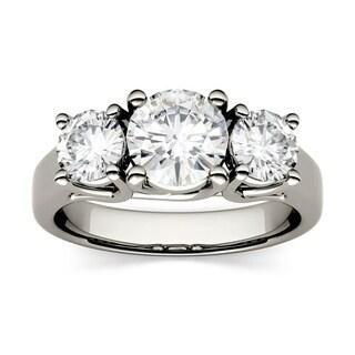 Amazing Charles U0026 Colvard 14k Gold 2.00 TGW Round Forever Brilliant Moissanite 3 Stone  Ring