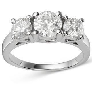 Charles & Colvard 14k Gold 2.70 TGW Round Forever Brilliant Moissanite 3-Stone Ring