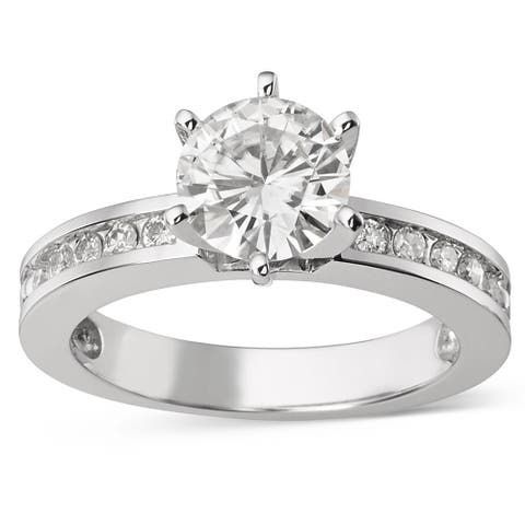 Moissanite by Charles & Colvard 14k Gold 1.70 TGW Round Solitaire Ring with Sidestones
