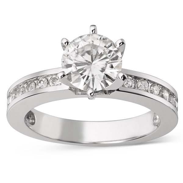 Moissanite by Charles & Colvard 14k Gold 1.70 TGW Round Solitaire Ring with Sidestones. Opens flyout.