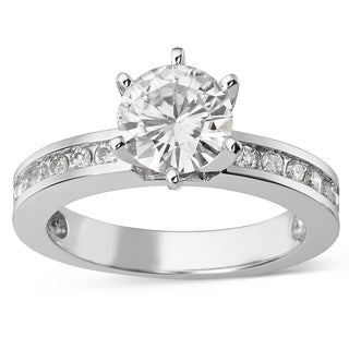 Charles & Colvard 14k Gold 1.70 TGW Round Forever Brilliant Moissanite Solitaire Ring with Sidestone