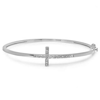 Sterling Silver 1/10ct TDW Diamond Sideways Cross Bangle (I-J, I2-I3)