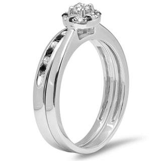 Elora 10k White Gold 2/5ct TDW Round Black and White Diamond Bridal Halo Engagement Ring (H-I, I1-I2)