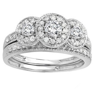 14k White Gold 1ct TDW Round-cut 3-stone Diamond Bridal Ring Set (H-I, I1-I2)