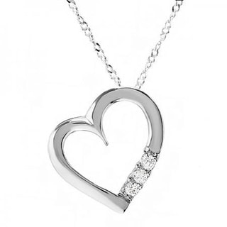 10k White Gold 0.15 Carat TDW 3 Stone Diamond Heart Pendant