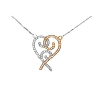 14k Two-tone 3/4ct Round Diamond Heart Pendant Necklace