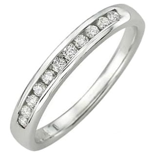 14k White Gold Round-cut 1/5ctw Diamond Anniversary Stackable Wedding Ring