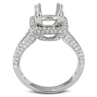18k White Gold Diamond Semi Mount Ring (No Center Stone) (H-I, I1-I2)