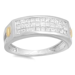 Elora 14k White Gold Men's 1 1/6ct TDW Invisible-set Diamond Ring