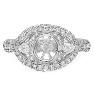18k White Gold 1 4/5ct TDW Round and Pear-cut Diamond Semi-mount Ring (H-I, I1-I2)